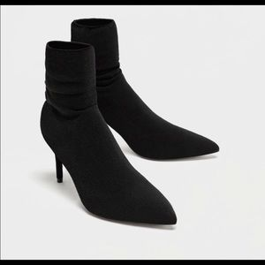 NEW ZARA BLACK SOCK HEELS SIZE 7